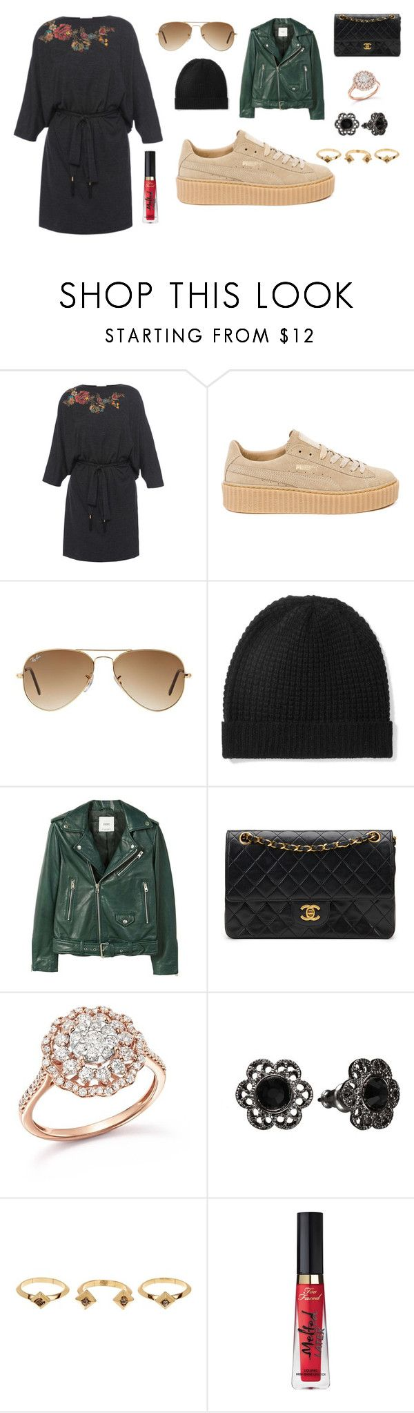"""""""Sans titre #7869"""" by yldr-merve ❤ liked on Polyvore featuring Megan Park, Puma, Ray-Ban, Madeleine Thompson, MANGO, Chanel, Bloomingdale's, 1928, House of Harlow 1960 and Too Faced Cosmetics"""