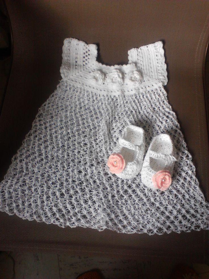 vestido para bebe de 1 año e crochet