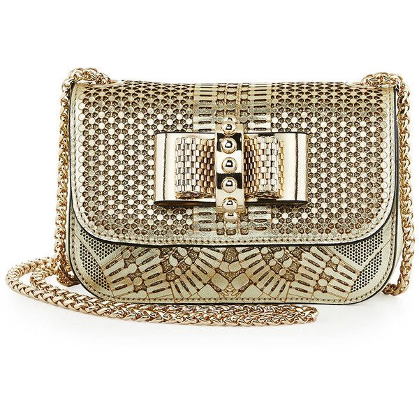 Christian Louboutin Sweet Charity Laser-Cut Mini-Crossbody Bag (14,720 SVC) ❤ liked on Polyvore featuring bags, handbags, shoulder bags, purses, gold, crossbody shoulder bags, mini crossbody, brown crossbody purse, crossbody purse and chain shoulder bag