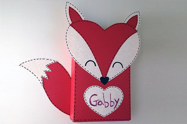 Make a fun fox box to collect your cards this Valentine's Day! Fun kids craft! Copyright Pamela Maxwell 2014