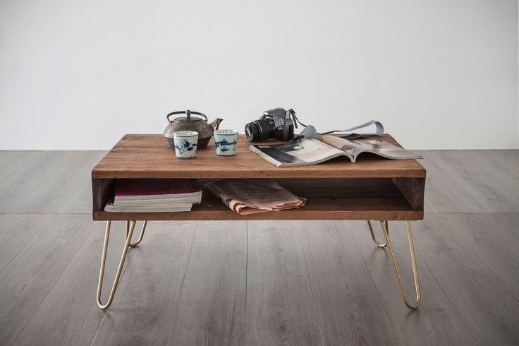 tavolino da caffè  60x90cm, tavolo basso personalizzabile, media console, legno massello colore WALNUT, piano e gambe personalizzabili di dokke su Etsy
