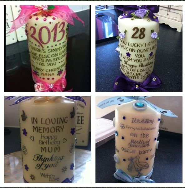 Homemade candles personalised