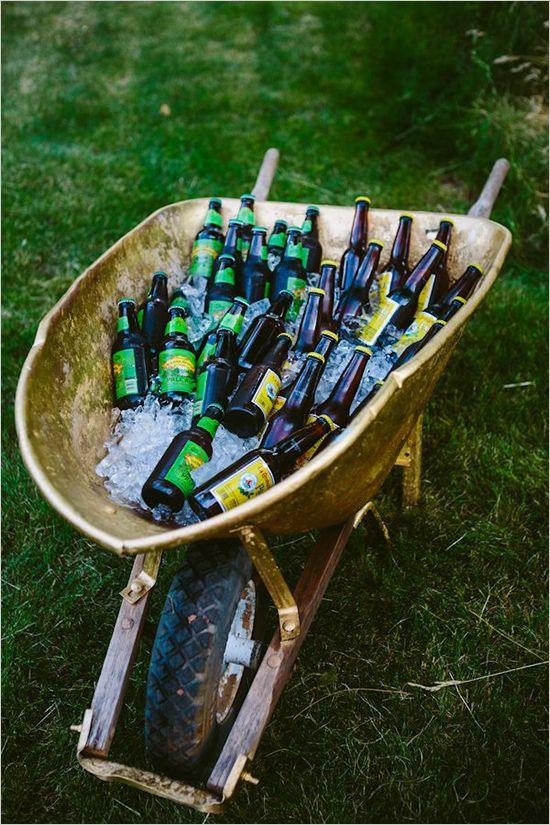 wheel barrow of beer