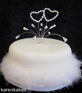 WHITE GLASS PEARL BEADED HEART CAKE TOPPER