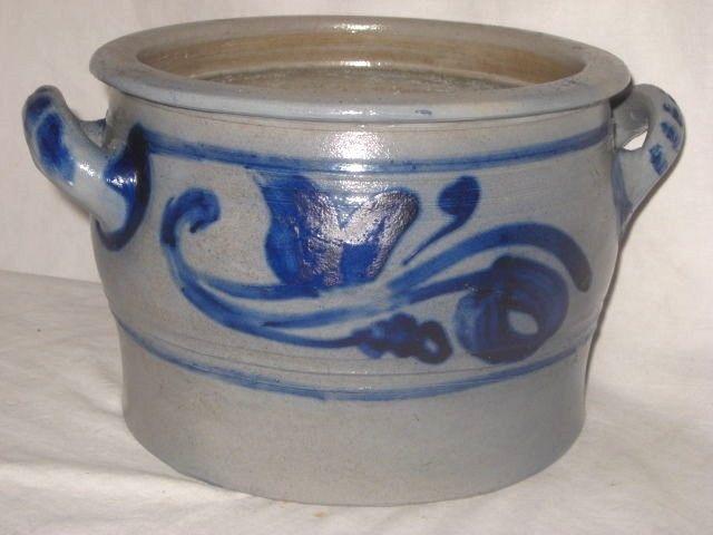 Antique Stoneware Westerwald Crock Low Blue Decorated