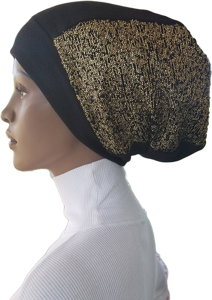 Dreadlock Beanie Tam Gold Metallic Shimmer Huggee Locs™ Beanie Cotton Jersey Knit Lined Black Slouchy Rasta Dread Accessory Handmade by CoveredLadiesDesigns on Etsy https://www.etsy.com/listing/518398510/dreadlock-beanie-tam-gold-metallic