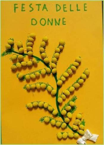 Mimosa da colorare. Disegno per la festa delle donne Lavoretto per le donne