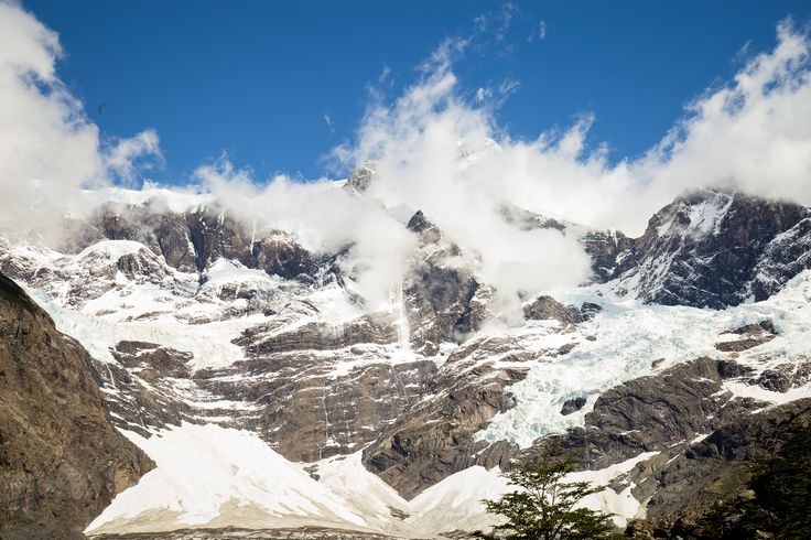 Torres del Paine III — weddingtravellers watching avalanches