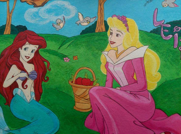 Dibujo Princesas Disney. Gouache. Ariel y Aurora