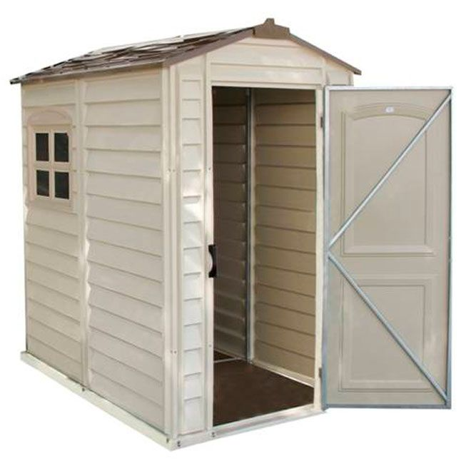 duramax 4 x premier series vinyl storage sheds with plastic floor and fixed window