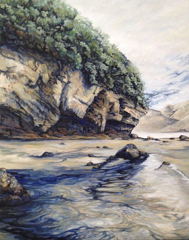 Te Henga cliffs (New Zealand) 605mm x 760mm, oil painting by Arwen Flowers - www.kiwiartist.com