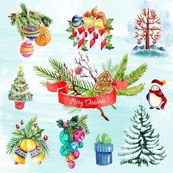 Christmas Clipart Xmas Clip Art Holliday Illustration by DigiPPP