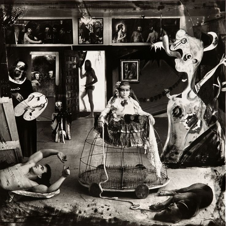 Joel-Peter Witkin  Las Meninas (Self portrait) 1987   Toned gelatin-silver print  84 x 84 cm    Based on Velazquez's famous painting of the same title.    Here is a good read about Velazquez's Las Menias by Mark Harden.  After that there's this interesting article comparing the two pieces by Evi Papadopoulou on Interartive.