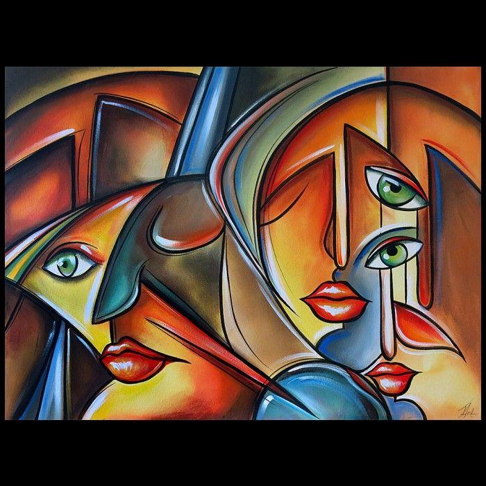 Acryl Schilderij Abstracte gezichten II
