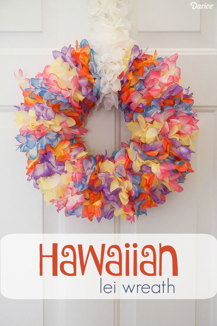 Using flower lei to create a bright and beautiful Hawaiian DIY lei wreath is a great way to add a pop of color to your front door this summer.