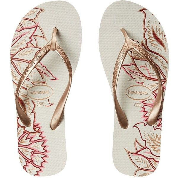 Havaianas High Light II Flip Flops (White/Rose Gold) Women's Sandals ($34) ❤ liked on Polyvore featuring shoes, sandals, flip flops, white platform sandals, white wedge flip flops, platform sandals, white slip on shoes and rose gold sandals