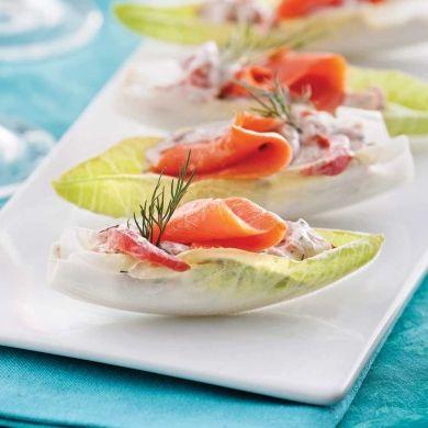 Endives farcies au saumon fumé - Entrées et soupes - Recettes 5-15 - Recettes express 5/15 - Pratico Pratique