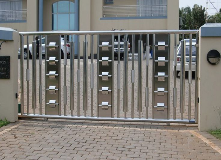 9 best stainless steel main gates images on pinterest for Stainless steel driveway gates designs