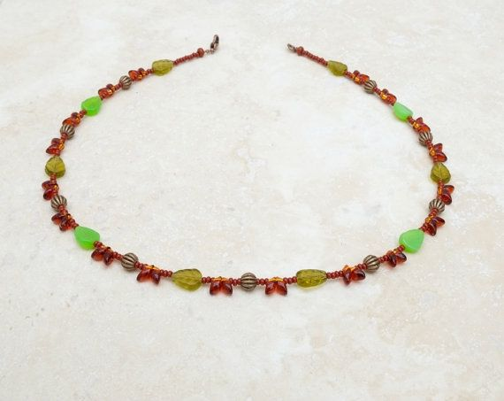 Amber and green glass beaded necklace by bijoubeadslondon