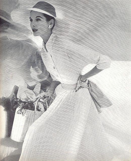 1955 Vogue, elegant woman, dress and hat