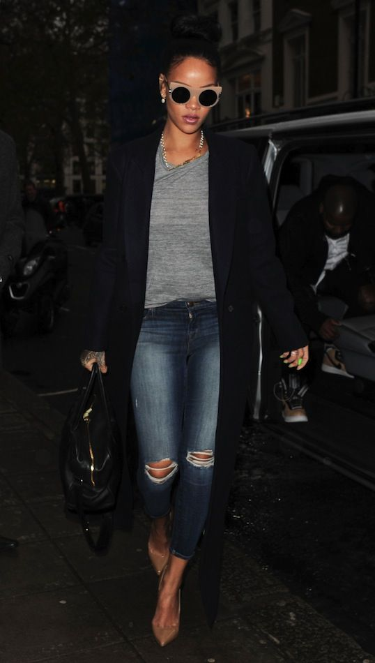 Le Fashion Blog Rihanna London Style Stella McCartney Nude Peaked Temple Sunglasses Long Coat Tee Distressed Denim Heels photo Le-Fashion-Blog-Rihanna-London-Style-Stella-McCartney-Nude-Peaked-Temple-Sunglasses-Long-Coat-Tee-Distressed-Denim-Heels.jpg
