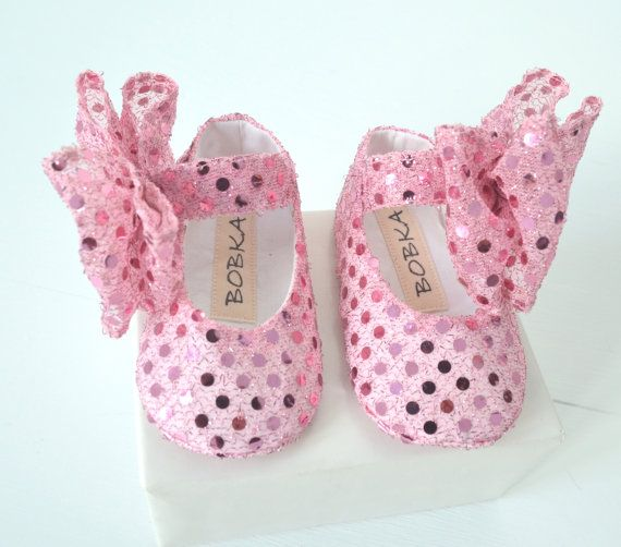 Baby Shoes Newborn Crib Shoes Pink Bling Photo Prop by BobkaBaby