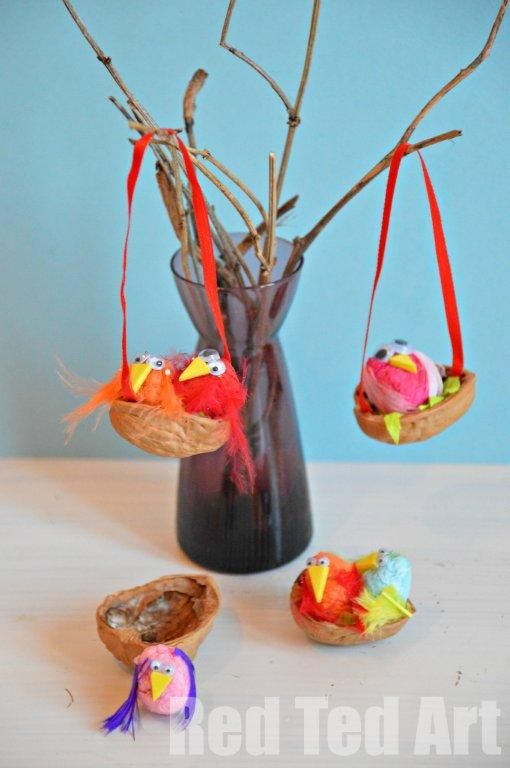 """Another pinner said 'We love Walnut crafts all year round... for Spring we made these little colourful Bird Nests. The kids adored rolling the """"balls"""" to make the birds and together we added the details' ;@)"""