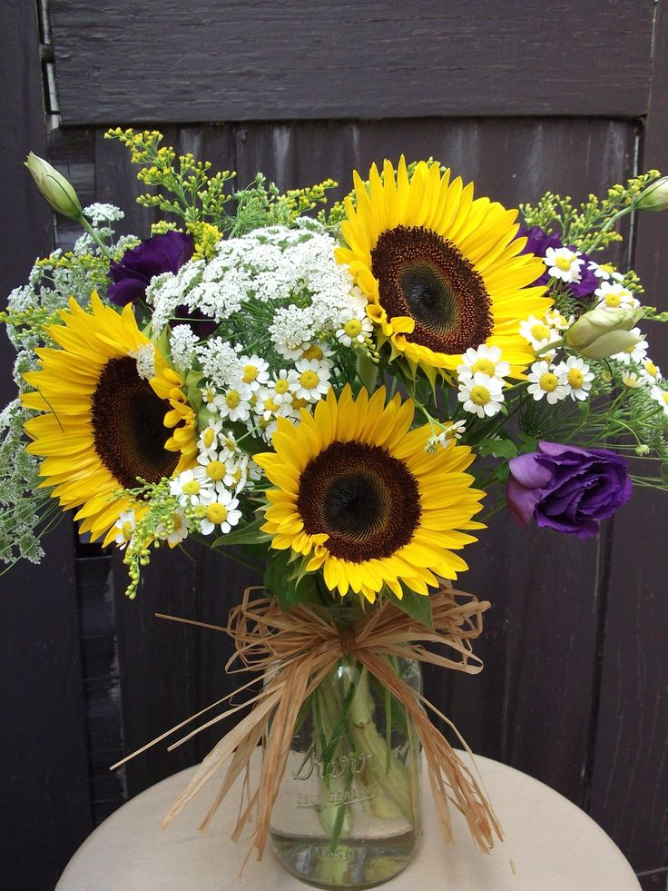 Send the Sunflower Mason Jar  bouquet of flowers from Westwood Flower Garden in Los Angeles, CA. Local fresh flower delivery directly from the florist and never in a box!