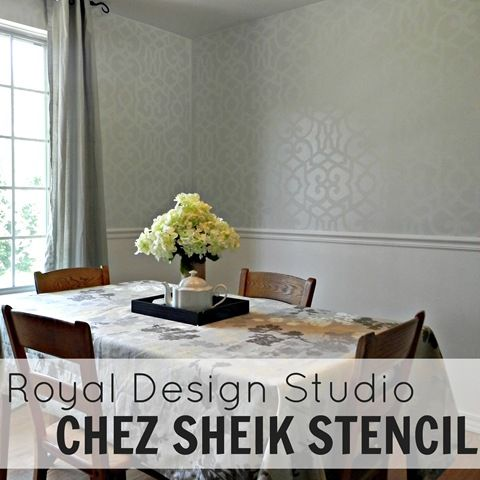 How to stencil a tone on tone damask look with matte and gloss paint. @Mad in Crafts created this elegant wall finish with our Chez Sheik Moroccan stencil. http://www.royaldesignstudio.com/collections/moroccan-stencils/products/chez-sheik-moroccan-stencil