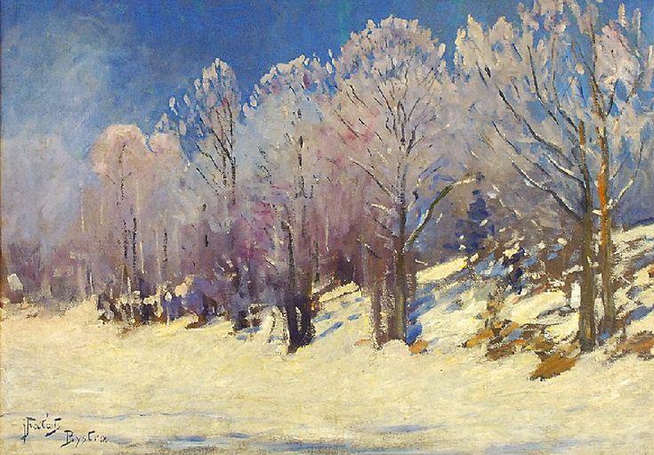 Julian FAŁAT (1853-1929)  W zimowym słońcu olej, płótno dublowane, 49,5 x 69,5 cm; sygn. l.d.: jFałat / Bystra