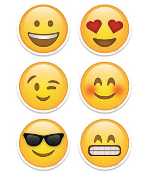 "Sweet and silly Emoji's 3"" cut-outs bring a little social media style and fun to the classroom. Pack includes six emoji designs: heart eyes, winking, smiley face, blushing smiley face, tooth-grin smiley face, and smiley face with sunglasses. Students will love these emoji faces."