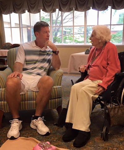 Troy Aikman Spent His Saturday Morning Hanging Out With a 100-Year-Old Fan for Her Birthday | Texas Monthly