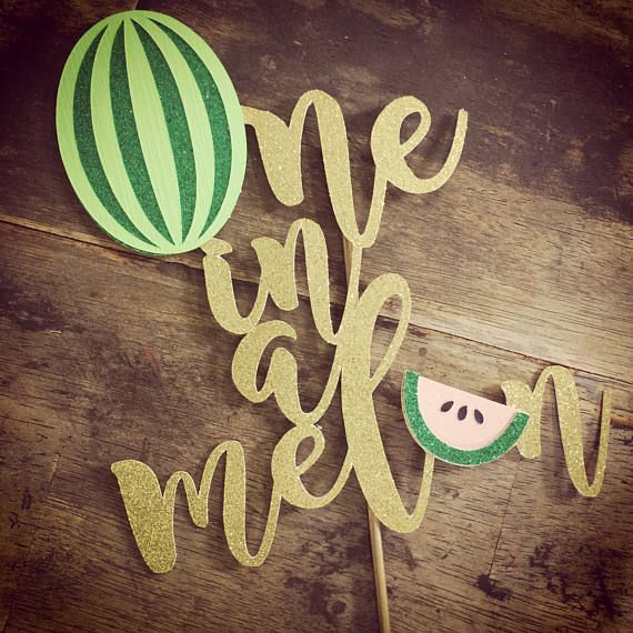 Watermelon Cake Topper. First Birthday Cake Topper One in a