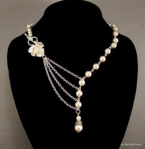Collar con las perlas y la hoja de plata | byBrendaElaine - Joyas en ArtFire