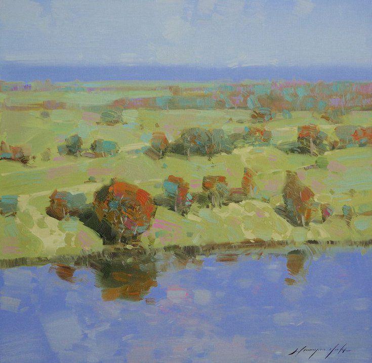 Riverside Landscape Oil Painting Handmade Artwork Oil Painting Landscape Original Oil Painting Painting