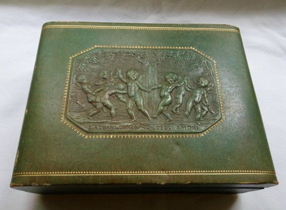 Vintage leather jewelry box storage case italian by bluestyle