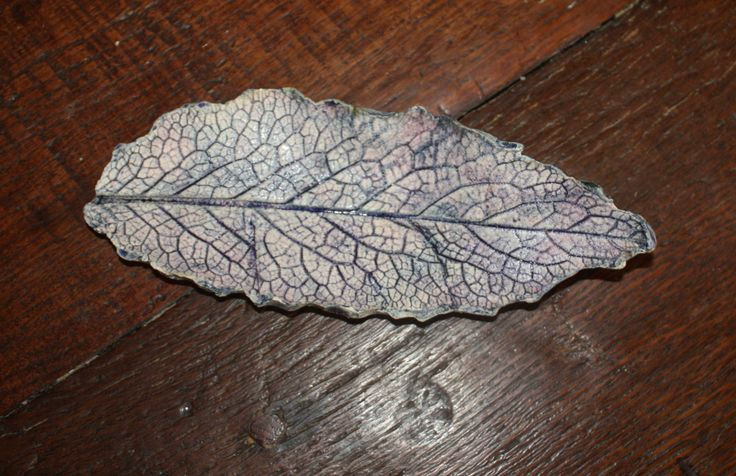 Blue borage leaf - treat yourself to a great dish, ideal for jewellery by LitSmithCeramics on Etsy