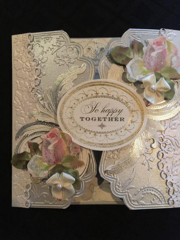 Wedding gate fold card using Anna Griffin embossing folders