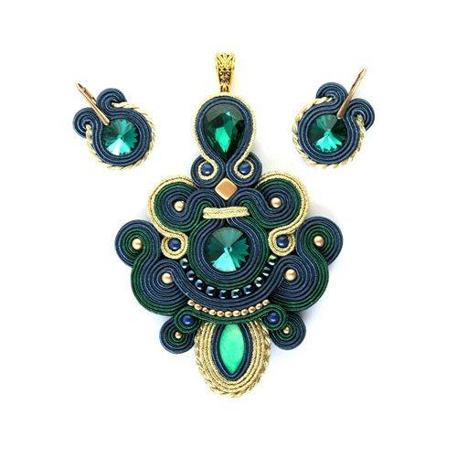 Classy and super elegant soutache pendant and by MarikaZakrzewska, $85.00