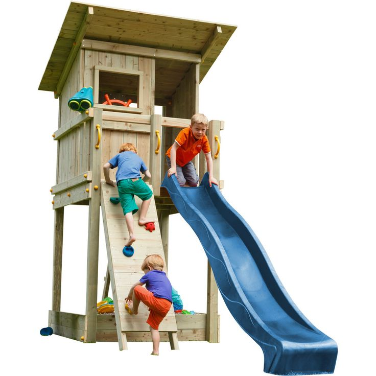 Blue Rabbit 2.0 Spielturm BEACH HUT mit Rutsche + Kletterwand Fernrohr Lenkrad