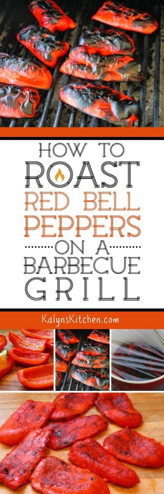 There's nothing wrong with roasted red peppers from a jar, but when you roast your own peppers, the flavor is amazing. This post will show you How To Roast Red Bell Peppers on a Barbecue Grill; it's easy! [found on KalynsKitchen.com]