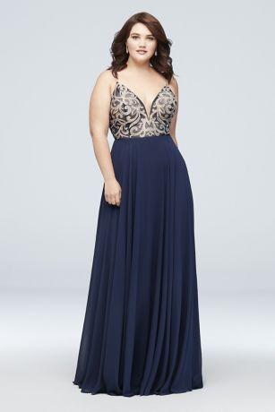 221724451e Metallic-Embroidered Chiffon Plus Size Dress Style J67522W