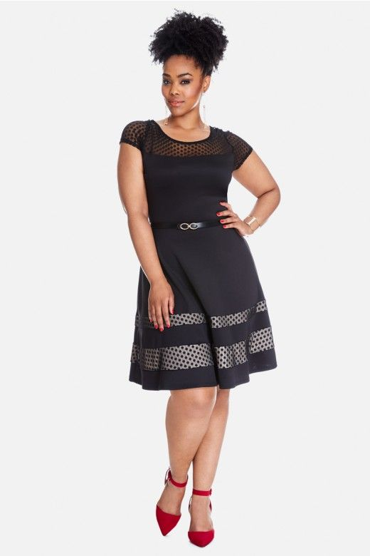 Plus Size On The Dot Belted Flare Dress Fashion To Figure