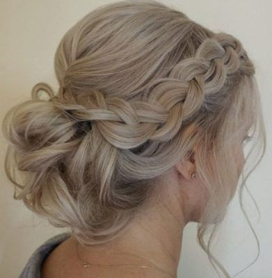 Side Braided Low Updo Wedding Hairstyle