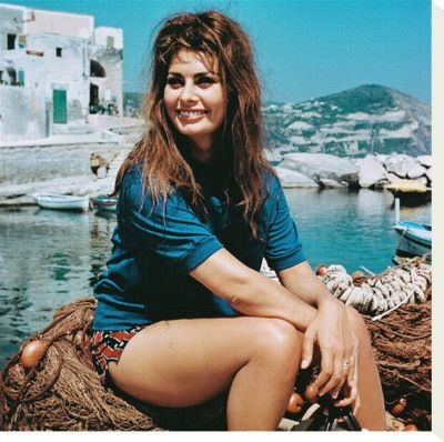 "Lovely Sophia Loren in Hydra, during the filming of ""Boy on a Dolphin"" ~ 1957"
