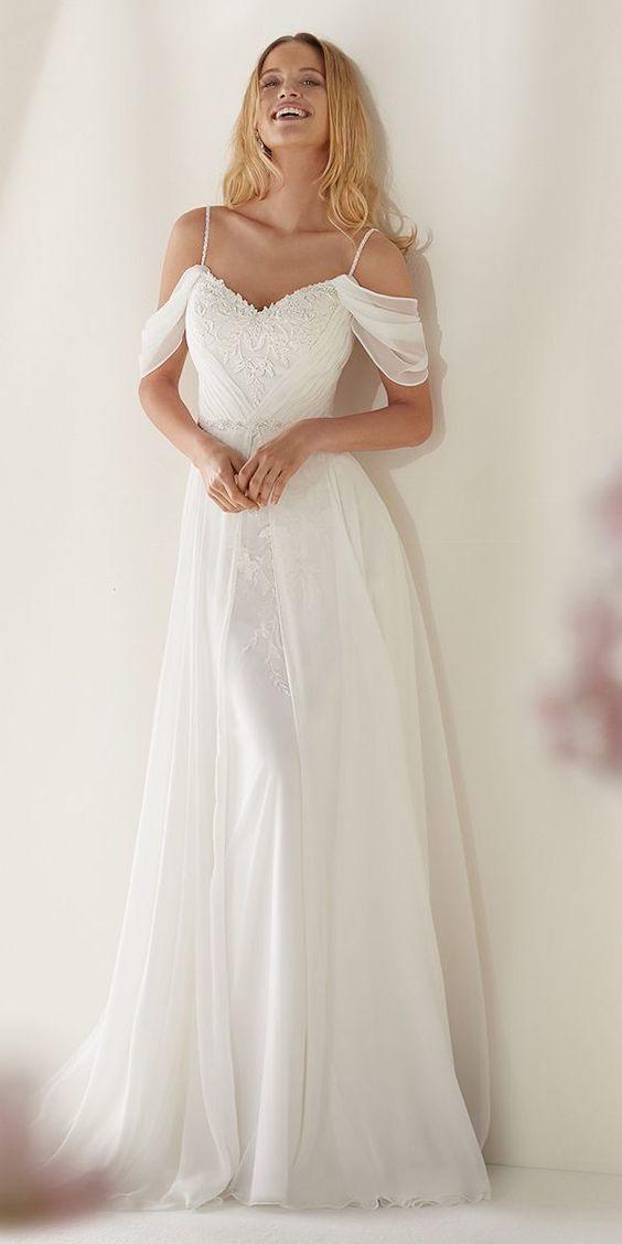 Awesome White Chiffon Lace Appliques Wedding Dress,Off Shoulder Spaghetti Straps Sheath Bridal Dress