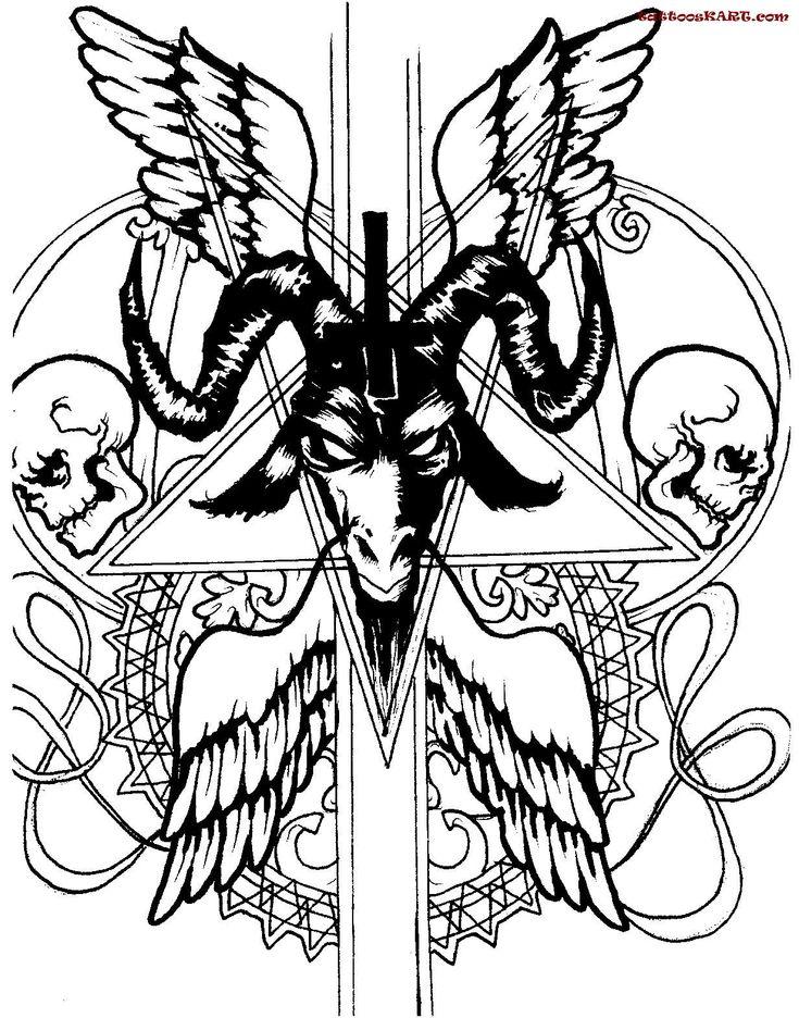 wings evil satan tattoos sketch tattooskartcom - Satanic Coloring Book