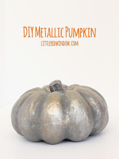 DIY a Spooky Metallic Pumpkin for Halloween! | littleredwindow.com