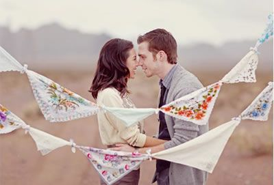 Homemade vintage hankie bunting | The Natural Wedding Company