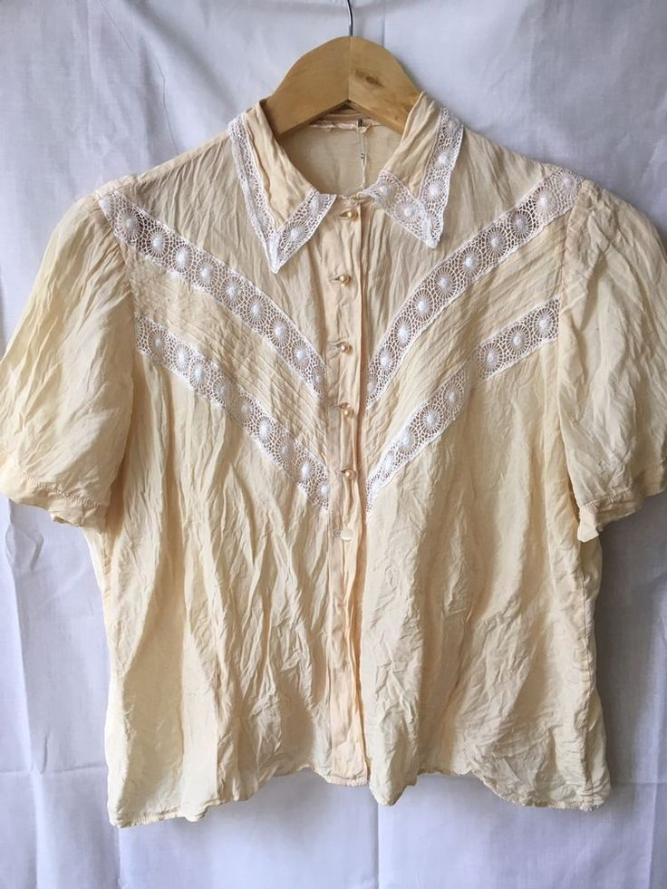 Vintage Retro 1940s 50s Silk Shirt Blouse Handmade Fifties Forties  | eBay